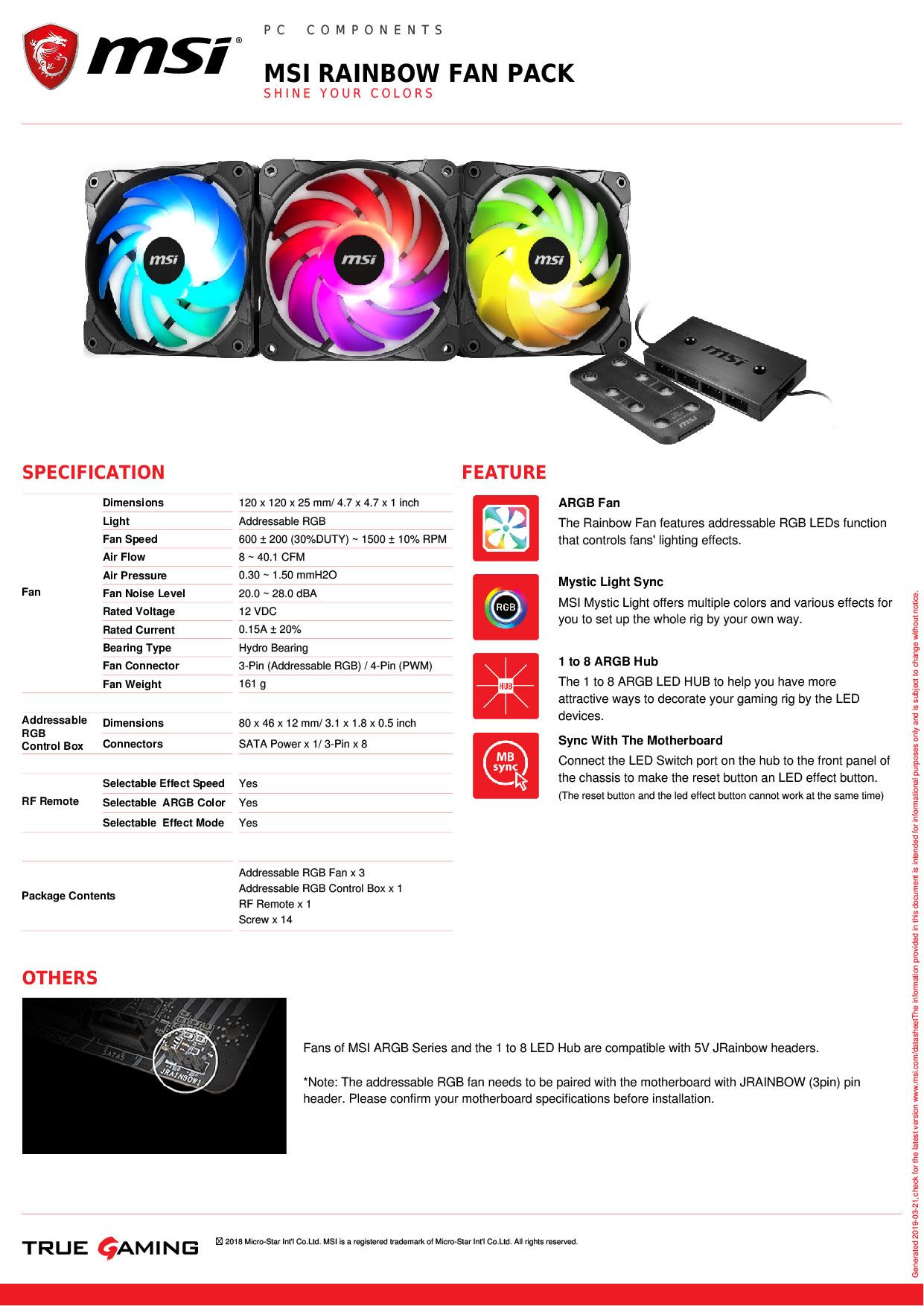 MSI Rainbow Fan Pack -3x 120mm RGB Fans with RGB Controller -  306-7G09F02-W57