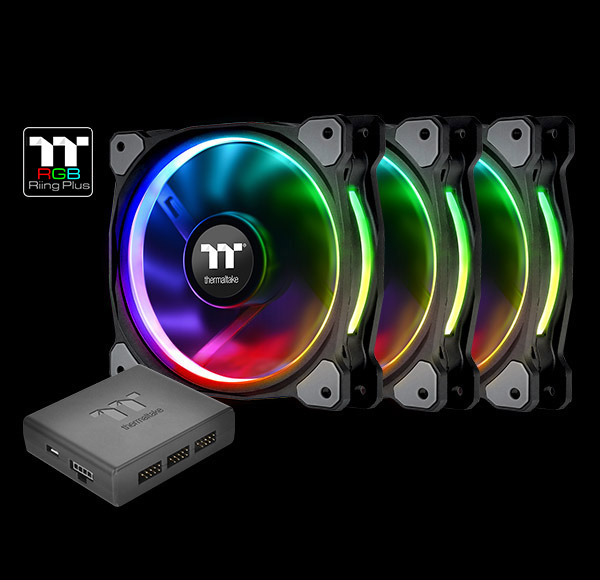 THERMALTAKE 3x 14cm Riing PLUS RGB LED FANS PREMIUM - Software Control  CL-F056-PL14SW-A