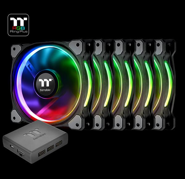 THERMALTAKE 5x 14cm Riing PLUS RGB LED FANS PREMIUM - Software Control  CL-F057-PL14SW-A