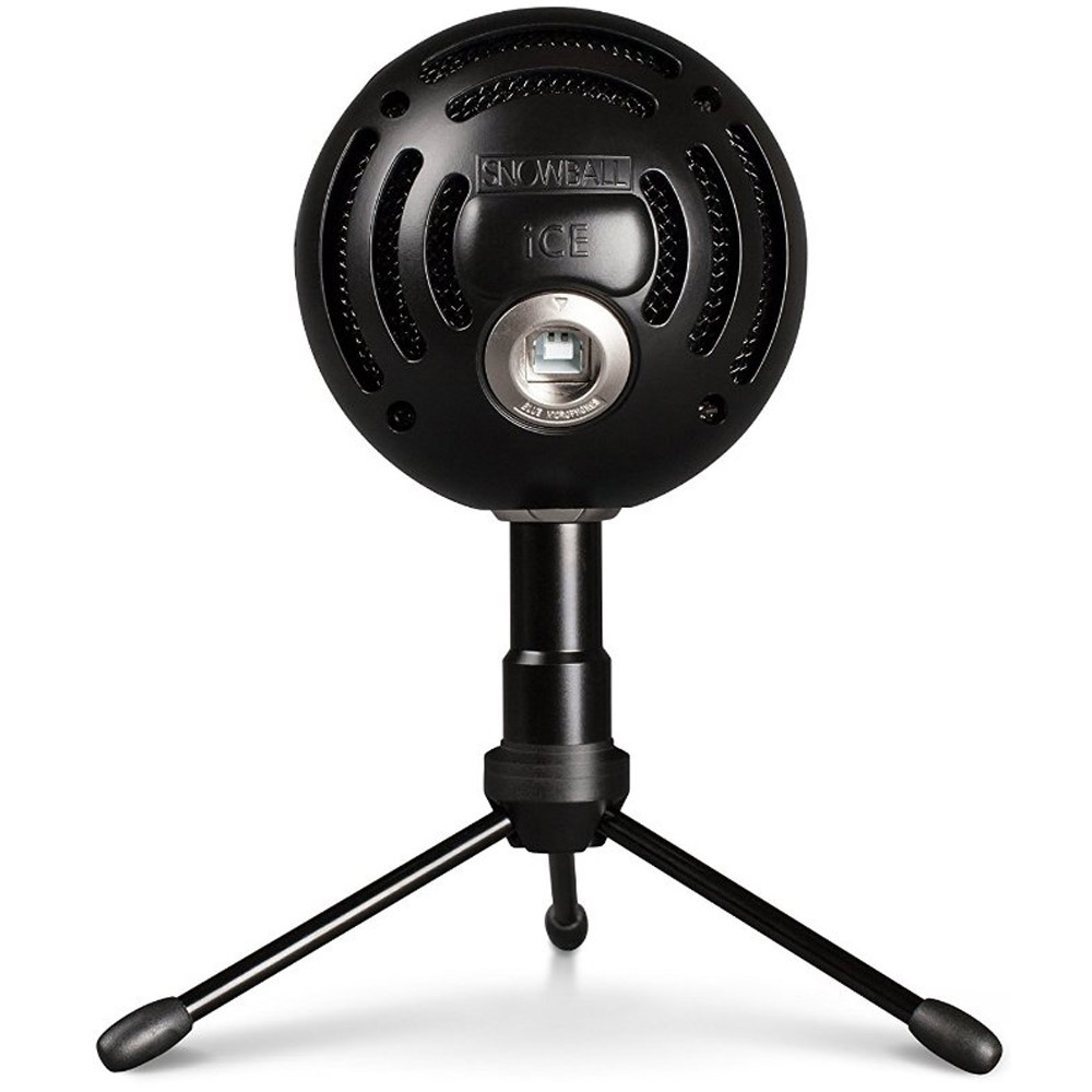 Blue Snowball Ice Black Usb Microphone With Mic Stand