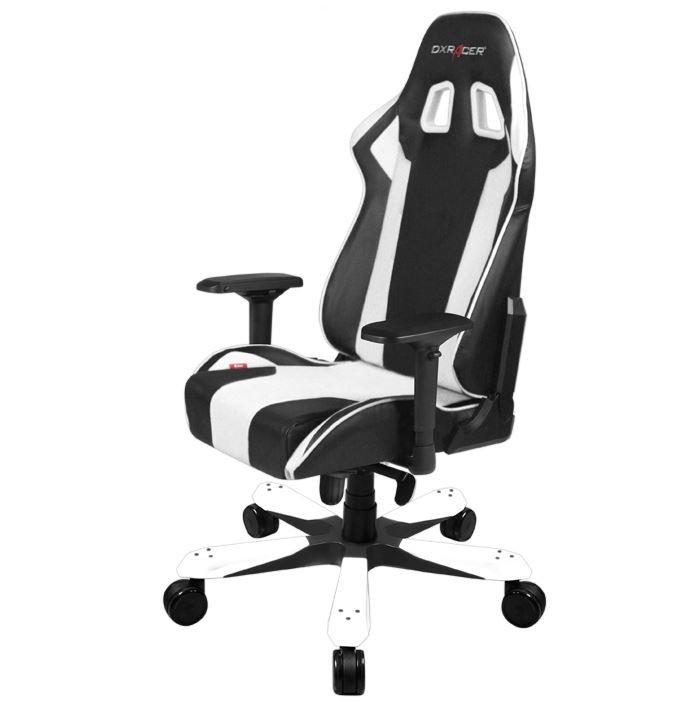 DXRacer KS06 WHITE King Series Gaming Chair Style Neck Lumbar Support