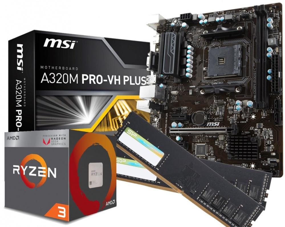 UPGRADE BUNDLE - AMD Ryzen 3 CPU / MSI A320M Motherboard / 2 x 4GB DDR4  2400Mhz