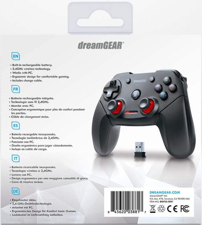 dreamGEAR DGPS3-3881 Shadow Pro Wireless Controller for PS3 /& PC PlayStation 3