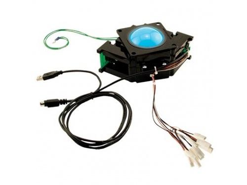 suzo happ 3inch blue translucent trackball assembly with usb ps/2 interface  & cable 12v arctrhapp3_blue_tran_usb_ps2