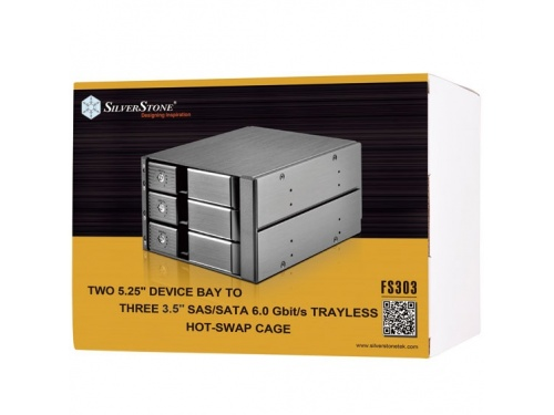 "SILVERSTONE FS303 Hot Swap Cage - 2x 5.25"" Bay to 3x 3.5"" SAS/SATA Bay - SST-FS303"
