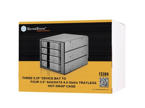 "SILVERSTONE FS304 Hot Swap Cage - 3x 5.25"" Bay to 4x 3.5"" SAS/SATA Bay - SST-FS304"