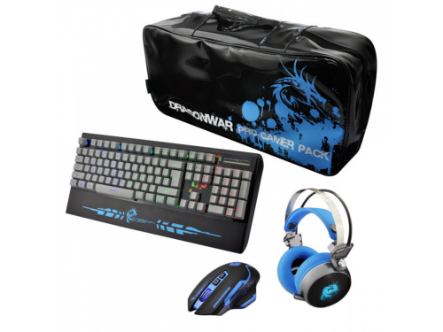 DragonWar 4 in 1 Gamer Pack BLUE Includes - Keyboard, Mouse, Headset and Bag MODEL : G-PGP-001