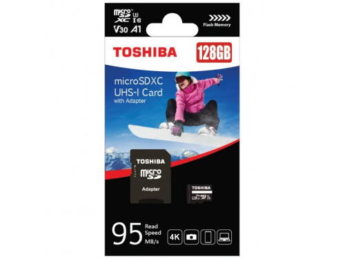 Toshiba 128GB microSD Card with SD Adapter Black CLASS 10 - MODEL: PA5357A-1MAJ