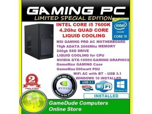 X GAMER SPECIAL EDITION MK11 i5 7600K 4 2Ghz QUAD CORE LIQUID COOLED 16gig  Ram 240gb SSD GTX-1050ti Graphics WiFi & BT WINDOWS 10 & 2Yr WNTY
